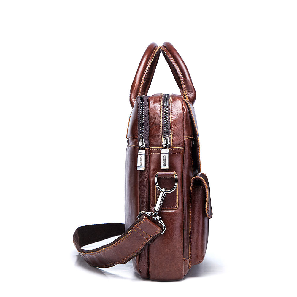 Bolsos de cuero genuino de los hombres primera capa de cuero de negocios portátil maletín bandolera bolso de cuero marrón bandolera - 5