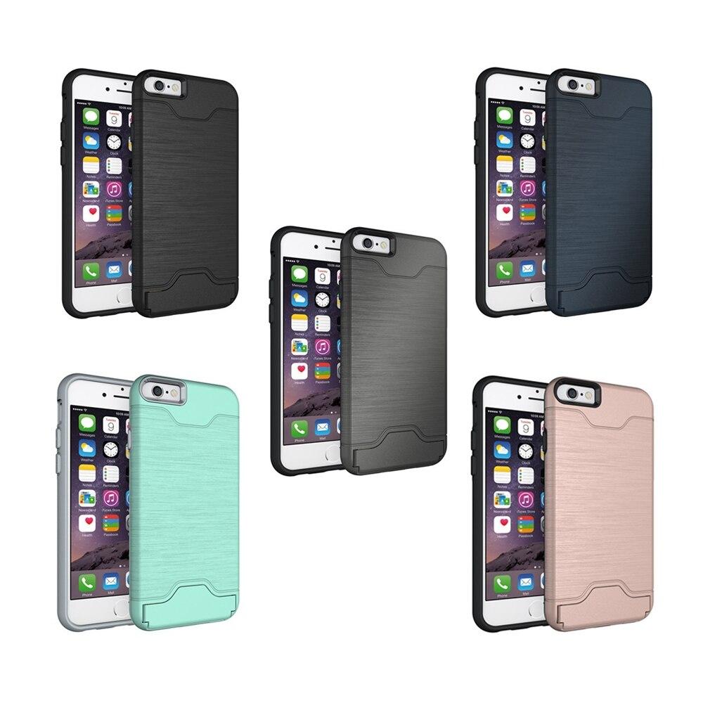 bilder für Für Apple iPhone 7 Hybrid Drahtziehen Rüstung Fall für iPhone 7 plus Mit Standplatz-kartenhalter