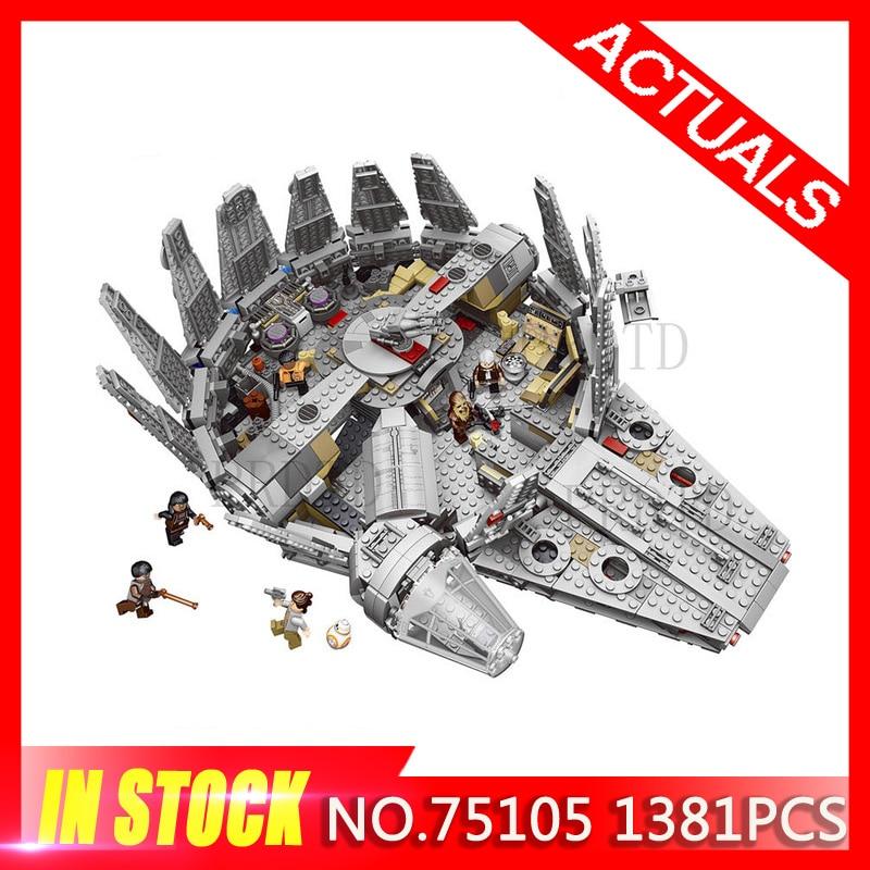 1381Pcs Star Millennium Falcon Figures Wars Model Force Awakens Building Blocks Harmless Brick 75105 LegoINGLYS StarWars Kid Toy