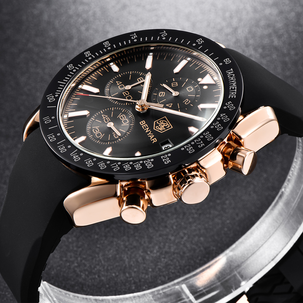 BENYAR Men Watch Top Brand Luxury Silicone Business Sport Chronograph Quartz Wrist Watch Men Clock Male Relogio Masculino Saat benyar quartz watch men sport watch luxury brand leather wrist watch men chronograph business watch male clock relogio masculino