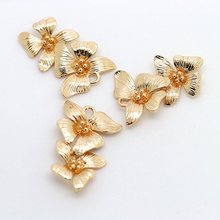 4PCS 24x15MM 24K Champagne Gold Color Plated Brass Double Flower Charms Pendants High Quality Diy Jewelry Accessories