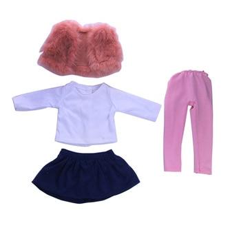 4 peças de roupas de boneca americana inverno colete t-shirt vestido calças justas terno para 43 cm bonecas e acessórios de brinquedo de boneca de 18 polegadas natal 1