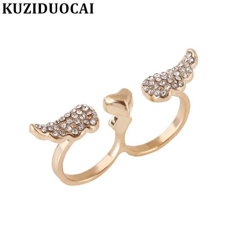 Kuziduocai ใหม่ Super พราว Smooth Rhinestones Heart Angel Wings แหวน Anillos Mujer Anel R-94
