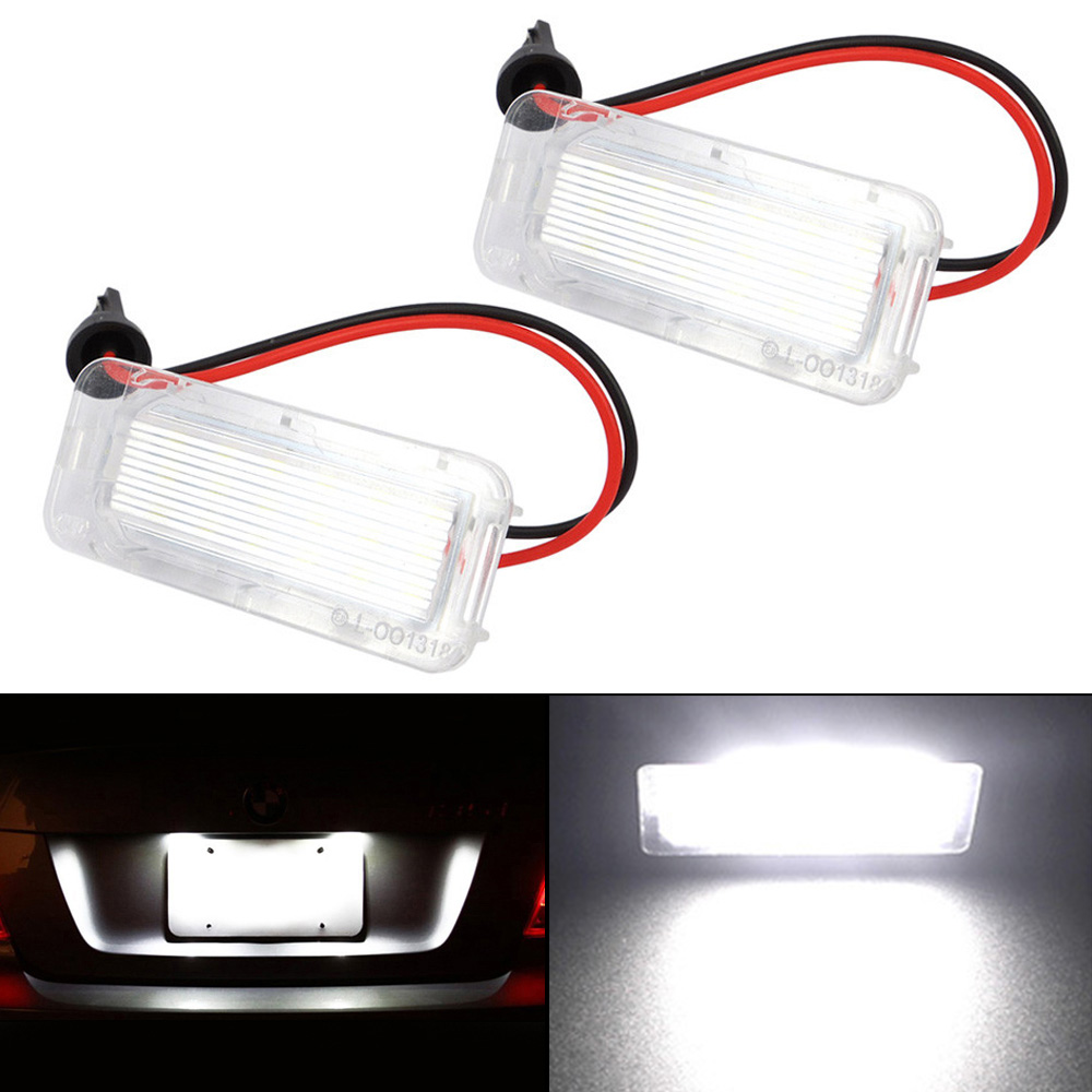 Car LED License Plate Light 18LED Lamps for Ford Focus Fiesta Mondeo MK4 Kuga Galaxy S-max C max Mk2 DA3 MK3 MK5 MK6 2PCS 2 car styling error free led rear license plate light for ford fiesta ja8 focus da3 dyb s max c max mondeo kuga jaguar auto lamp