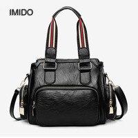 IMIDO 2018 Wholesale Soft pu Leather Handbag Women Shoulder Bags Black Messenger Bag Leather Famous Brand Tote Bag Bolsa HDG067