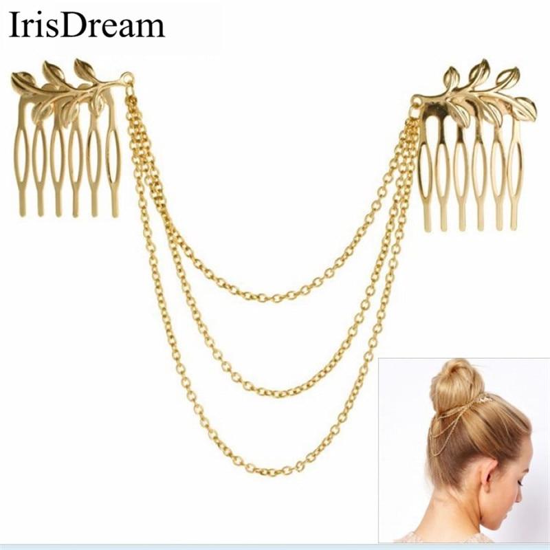 Gold Elegant 2 Hair Combs Chain Tassel Headbands Bridal Wedding Hair Jewelry Pins Clips Stick