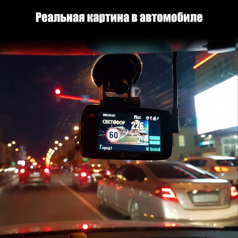 714609 руб 43 скидкаjunsun L2 автомобильный видеорегистратор 3 в 1 видеорегистратор радар детектор и Gps Super Hd 1296p Ambarella A7 регистратор