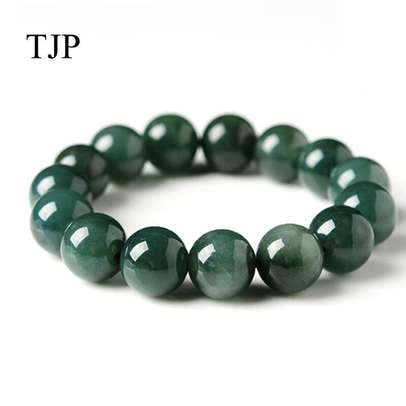 Genuine natural glutinous jade beads round bracelet Myanmar jade beads beads hand A goods jade jade beads bracelet 13 mm tianyu jade