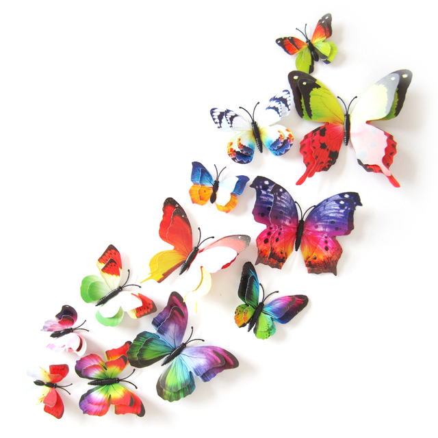 12Pcs Mixed color Double layer Butterfly 3D Wall Sticker for wedding decoration Magnet Butterflies Fridge stickers Home decor 4