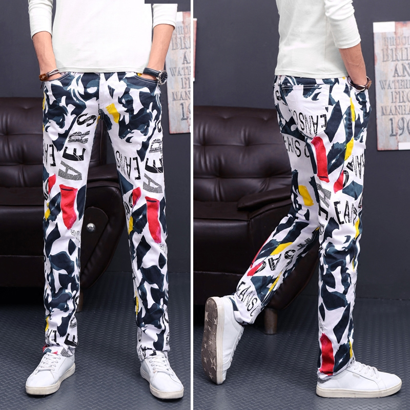 Men 's individuality stretch printing trousers youth straight Slim jeans men' s large pants nightclub color pants
