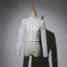 Кружевное платье с высокой горловиной болеро невесты Свадебная куртка, болеро Кнопка Для женщин с длинными рукавами Королевский Свадебный Обёрточная бумага пальто на свадьбу кружевное платье для свадьбы; FJ37