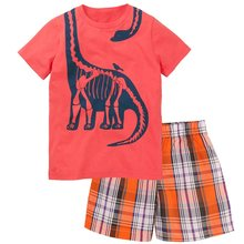 Newest Baby Boy Clothes Toddler Tee Shirts Grid Pant Clothing Suit Children Outfit Cotton Kids Tops T-Shirt Trouser Panties 1-5Y(China)