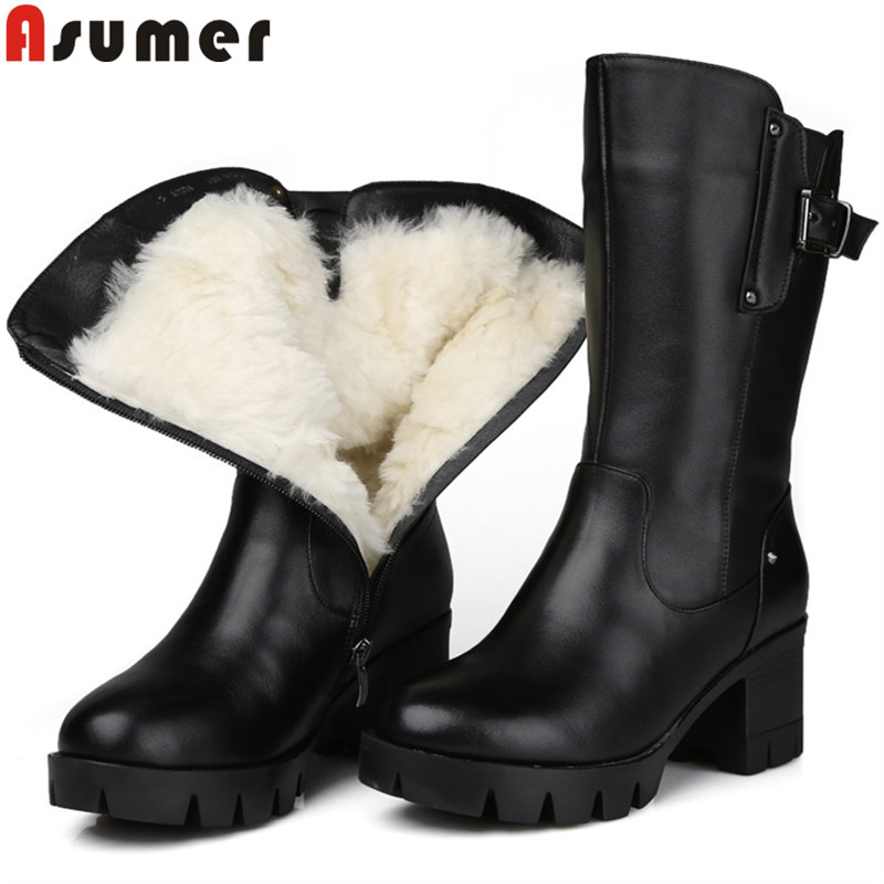 ASUMER 2020 winter boots women round toe zip pu cow leather boots thick high heels shearling