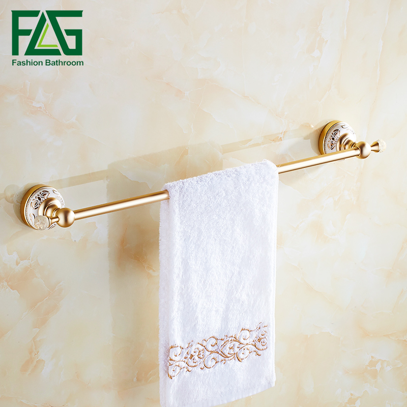 FLG Single Towel Bar Towel Rack Towel Shelf Wall Mounted Space Aluminum Gold Bathroom Accessories bathroom space aluminum single towel bar towel holder bathroom accessories single towel rack