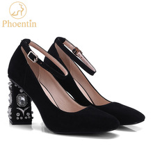Phoentin kid suede rhinestone shoes women ankle strap buckle crystal strange heels party shoes for women super high heels FT299