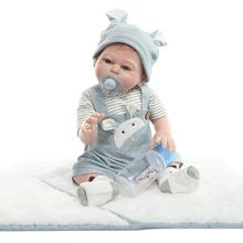 Realistic Full Silicone Vinyl 19in Newborn Baby Toy Boy Clothes Pacifier Lifelike Handmade Gifts Reborn Doll 22inch full silicone newborn lifelike baby doll polka dot skirt bow headband hot pink deer toy early childhood oct31