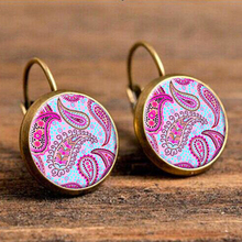 Pink and Yellow Kaleidoscope Drop Earring for Women Indian Mandala Flower Big Earring Orecchini Wholesale Indian Jewelry vintage kaleidoscope flower drop earring for women blue purple indian mandala pattern round eardrop wholesale brincos 2018
