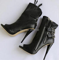 New Fashion Women Black Open Toe Boots High Heels Ankle Boots Buckle Straps Booties Spike Heel