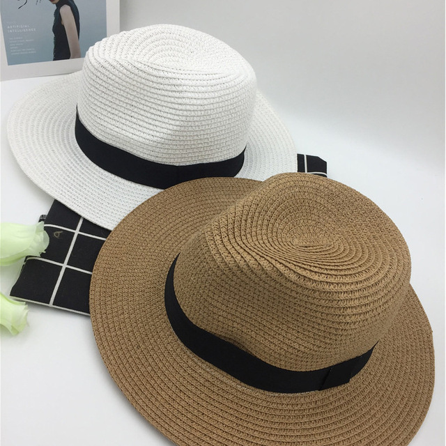 Summer Foldable Black White Ping Eaves Men And Women Parenting Straw Hat  Panama Formal Hat Sun Hat You Sandy Beach Hat d0252ce6ab7