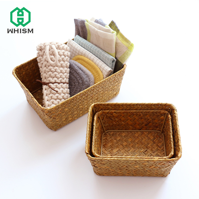 WHISM Chinese Art Style Natural Seagrass Square Storage Basket Hand Woven  Seaweed Storage Case Wickerwork