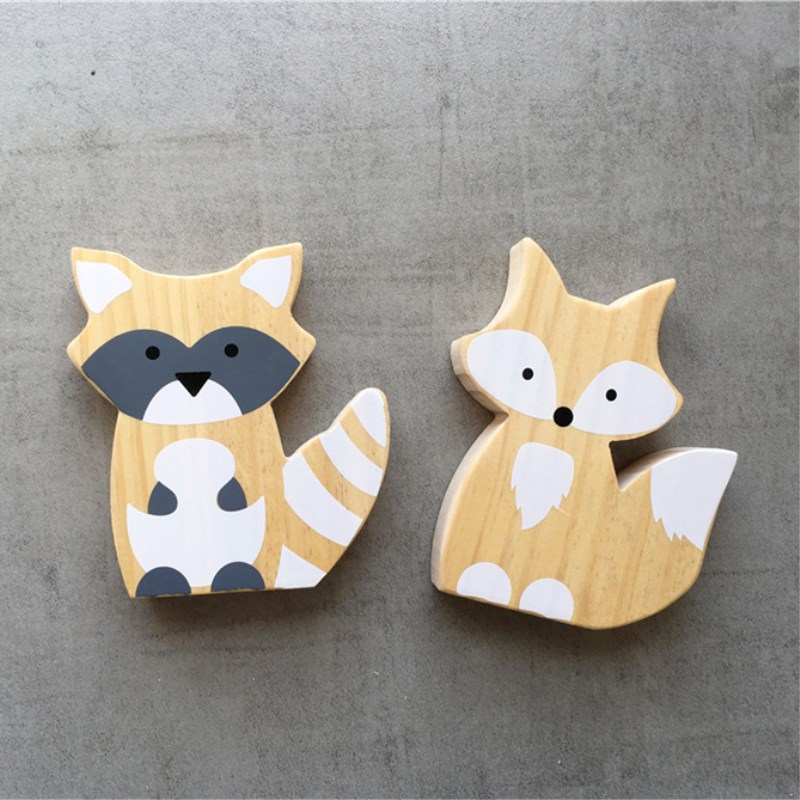 Home & Garden Ins Nordic Wooden Fox Ornaments Kids Room Decorations Wall Art Miniature Figurines Wood Toys Nursery Decor Photography Props Demand Exceeding Supply