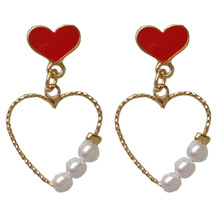 Fashion jewelry new simple girl red heart with pearls drop earrings for women