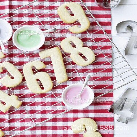 9 Pièces/ensemble Acier Inoxydable Nombre Forme Cookie Cutter Biscuit Moule/Très Amusant Pour Vos Enfants