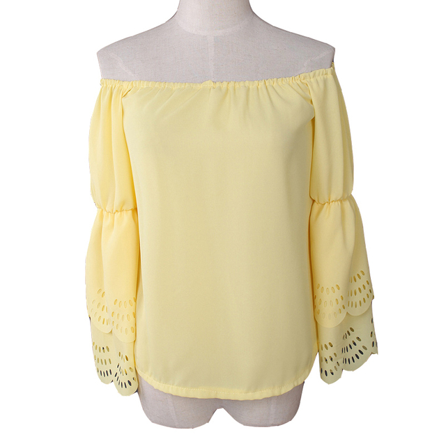 2015 Women Sexy Off The Shoulder Blouses & Shirts Sweet Yellow Slash Neck Long Flare Sleeve Peplum Casual Beach Chiffon Tops