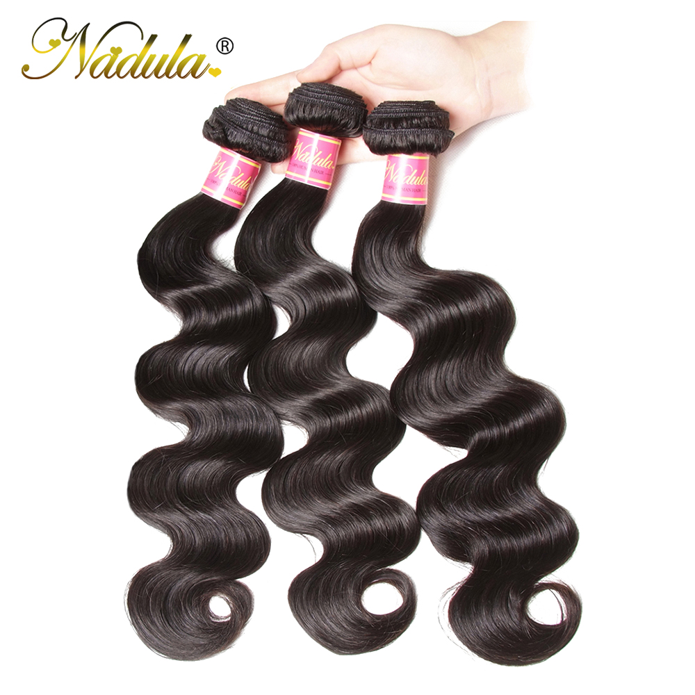 Nadula Hair 3 Bundles Brazilian Body Wave Hair Weaving Natural Color Brazilian Hair Weave Bundles 100% Remy Human Hair Body Wave(China)