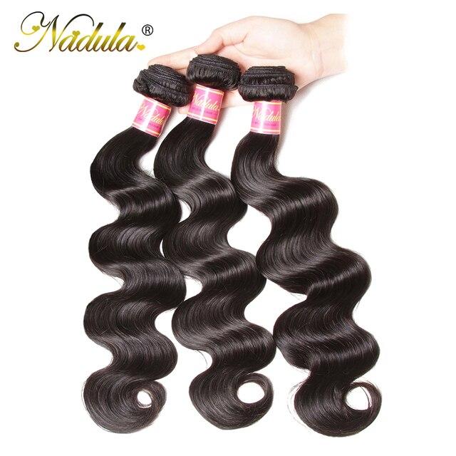 Pelo de Nadula 3 paquetes de pelo brasileño de la onda del cuerpo que tejen los paquetes de la armadura del pelo brasileño del Color Natural del pelo del cuerpo humano Remy del 100% la onda