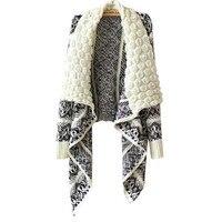 2016 New Autumn Fashion Knitting Printing Lapel Irregular Geometric Pattern Knit Sweater Shawl