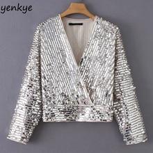yenkye 2019 Spring Women Sequin Kimono Blouse Female Sexy Cross V Neck Long  Sleeve aa1f19253d8c