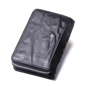 Image 5 - 2020 novo feminino curto zíper bolsas de pele de carneiro carteira titular do cartão com bolsos de moeda