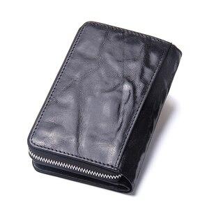 Image 5 - 連絡の本革の女性は2020新女性ショートジッパー財布シープスキン財布カードホルダーコインポケット