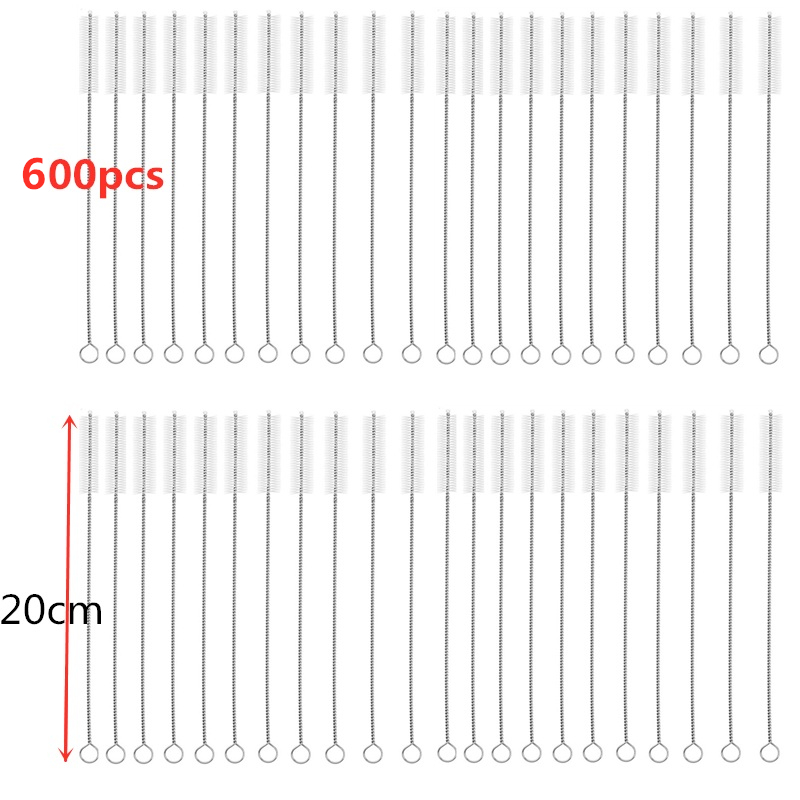 600pcs 20cm Drinking Straws Brushes Pipes Brush Cleaning Brush for Glass Straws Cleaner