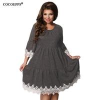 COCOEPPS Autumn Winter Women Patchwork Dresses 2018 Plus Size Women Clothing Female Dress Elegant Hollow Out