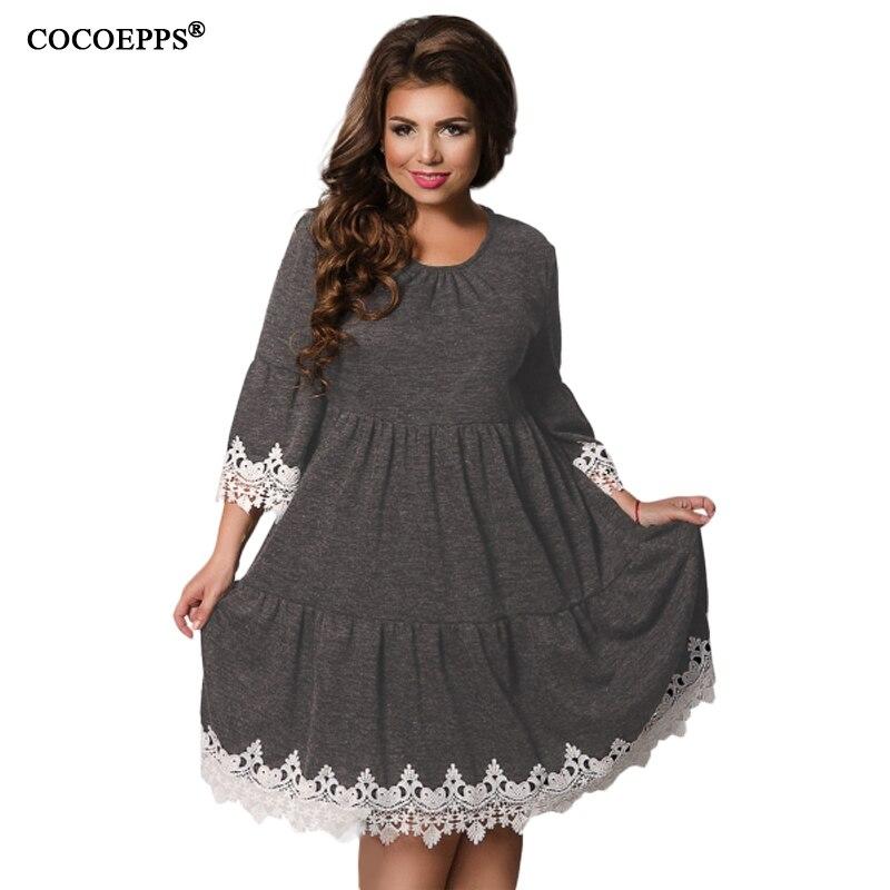 b1052c94b3e3 COCOEPPS Outono Inverno Mulheres Patchwork Vestidos 2019 Plus Size mulheres  Roupas Femininas Vestido Elegante Oco Out vestidos 5XL 6XL