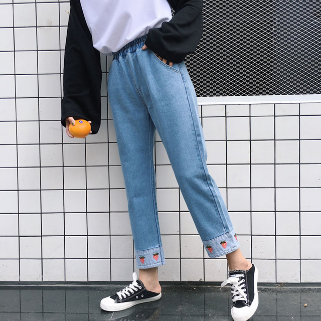 Women Harajuku Cute Strawberry Embroidery Jeans Pants Korean Style Elastic High Waist Patchwork Jeans Autumn Roll Up Denim Pants