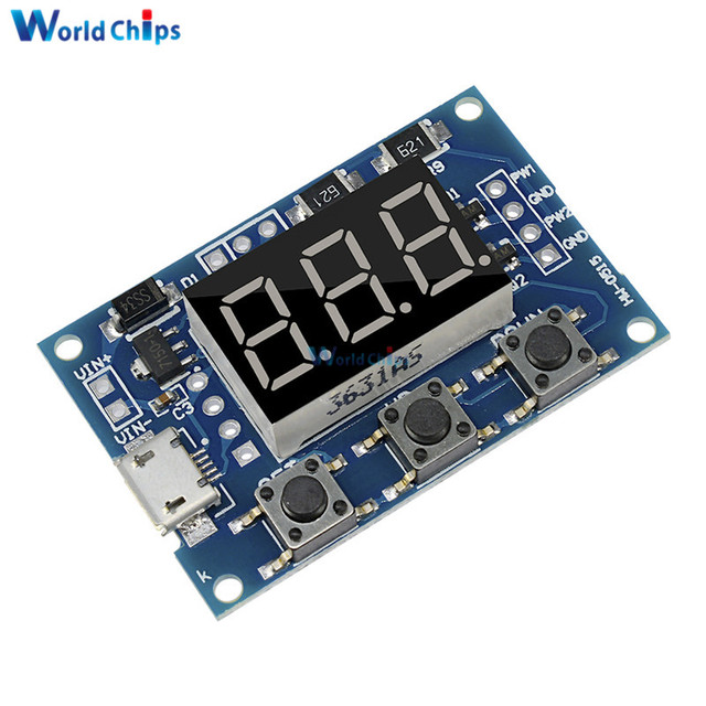 DC5-30V/Micro Usb 5V Power Independent PWM Generator 2 Channel Dual Way Digital LED Duty Cycle Pulse Frequency Board Module