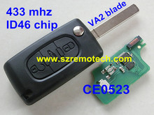 Remote Flip Folding Key 3 Buttons 433MHz with ID46 chip for Peugeot 207 307 308 407 607 Keyless Entry Fob Car Alarm CE0523