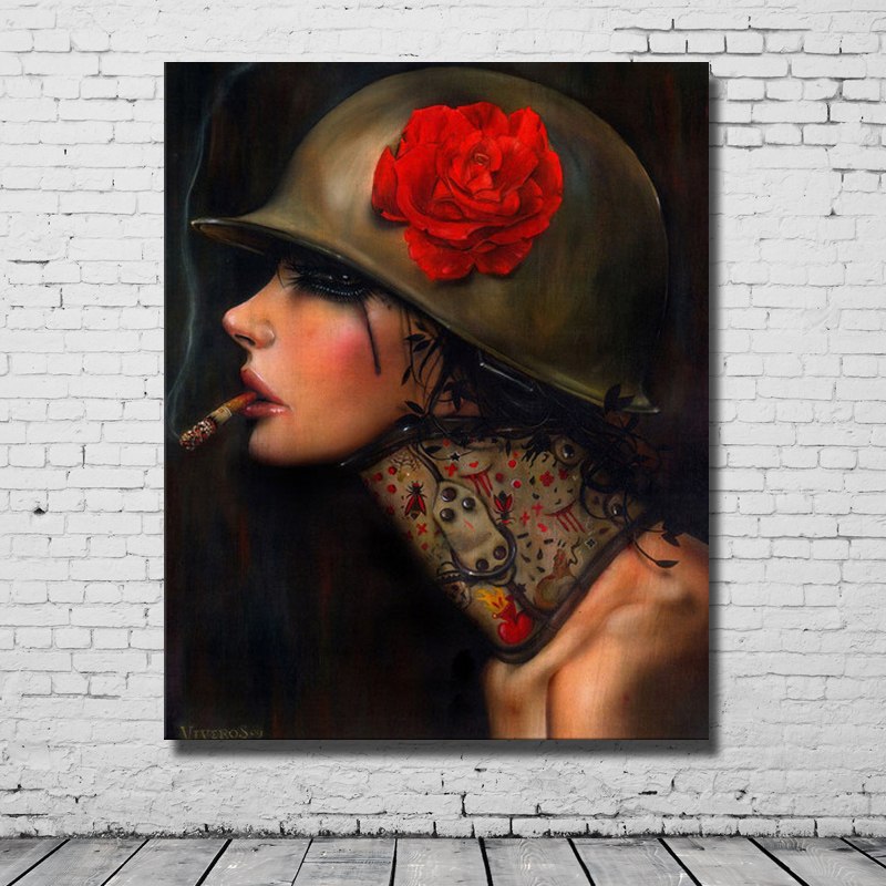 Girl Pop Art  Hand made  Smoking  Oil Painting Home Decoration Wall Art   Canvas Painting Sets High Quality  No framedGirl Pop Art  Hand made  Smoking  Oil Painting Home Decoration Wall Art   Canvas Painting Sets High Quality  No framed
