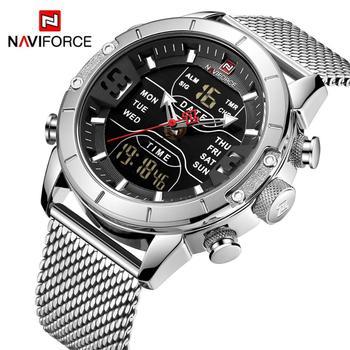 NAVIFORCE Military Sport Uhr Männer Dual Time Analog Digital Uhr Kalender Mesh-Armband Quarz Herren Uhren Top Brand Luxus 2019