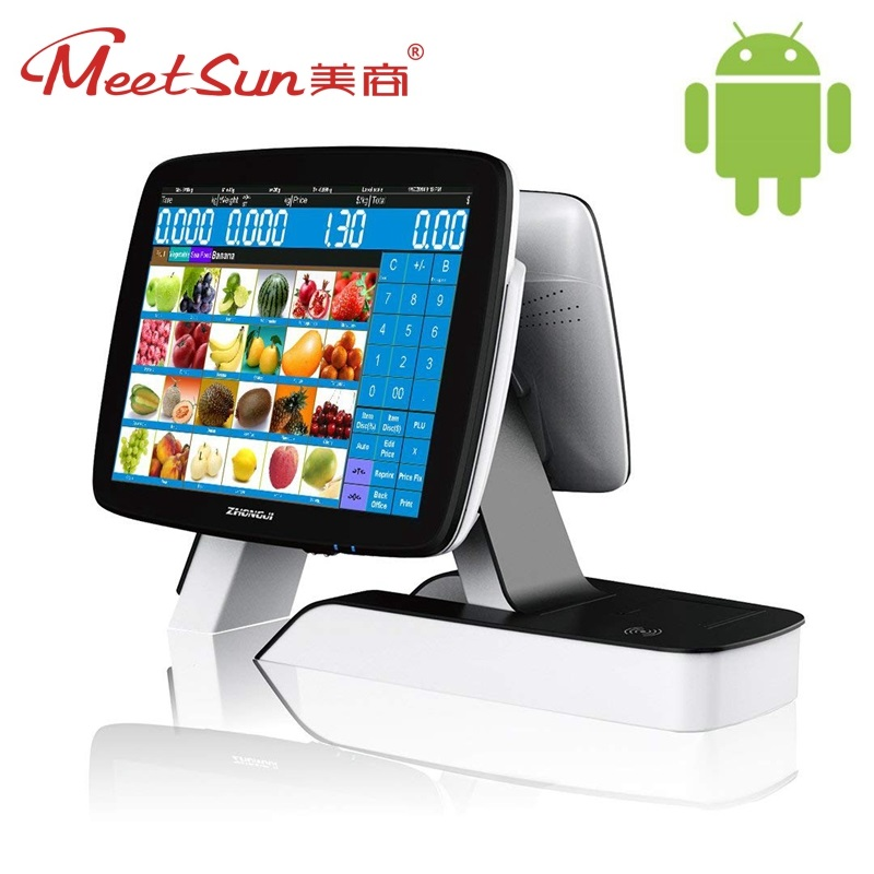 Meetsun ZJ-A7D New Double Screen All in One 15 Touch Screen Monitor Pos System Cash Register POS Terminal Machine for Android