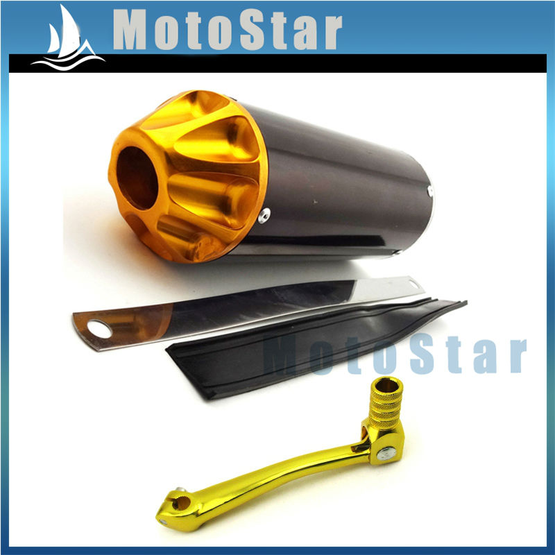 Replacement 28mm Gold Tip Muffler Exhaust Pipe Kit for Dirt Pit Bikes compatible with Honda CRF50 XR50 SDG SSR LiFan KLX Thumpsar TTR YCF 50cc 70cc 90cc 110cc 125cc Chinese Pit Trail Dirt Bikes