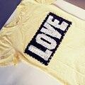 Foto Real de Las Mujeres Del Verano Camisetas Letras Lentejuelas AMOR Camisetas de La Moda Tops de Algodón Elástico Rebordear Femenino Jerseys Camisetas