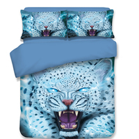 3d oil printing animal tiger/snow leopard/lion twin/single full queen size 3/4pcs bedding set without comforter