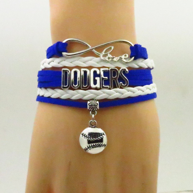 Fashion Dodgers Bracelet Baseball Charm Leather Bracelets Bangle For Women And Men Jewelry Trendy