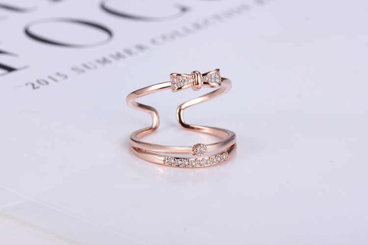 2017 جديد وصول الساخن بيع أزياء bowknot الكريستال 925 الفضة الاسترليني ladies'finger خواتم مجوهرات هدية الجملة