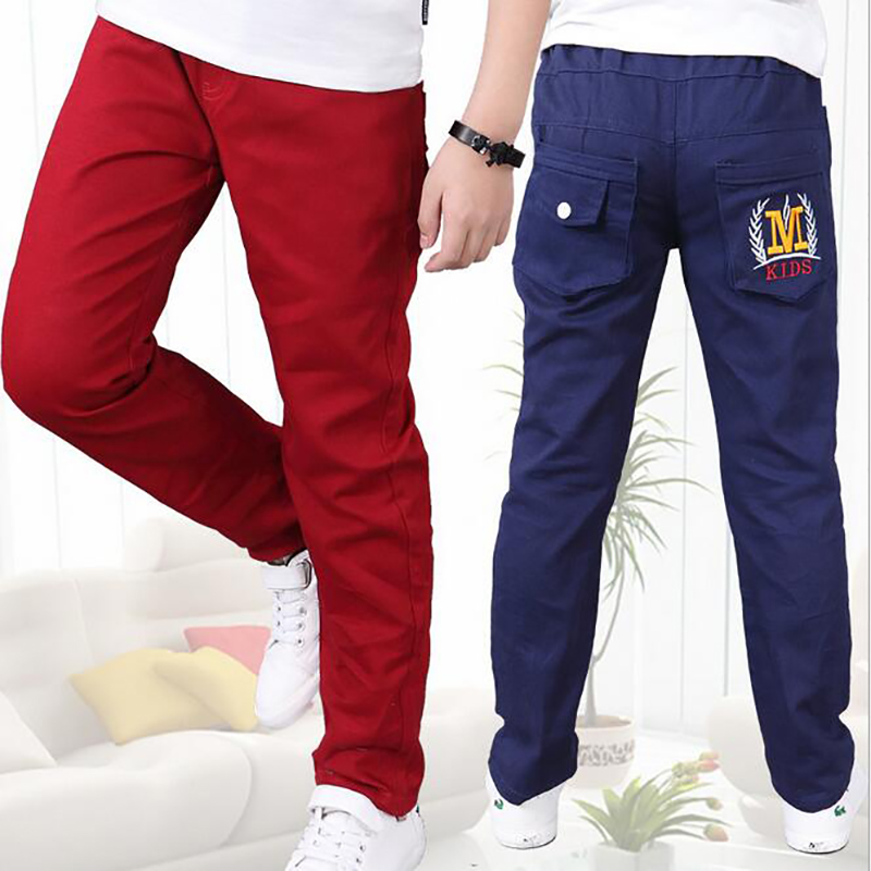 fashion kids spring autumn trousers new children cotton unisex solid casual pants teen clothing Children School