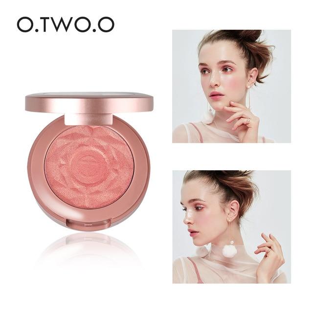 O.TWO.O Face Blusher Powder Palette Makeup Cheek Blusher Powder Minerals Palettes Blusher Brush Palette Cream Natural Blush 2